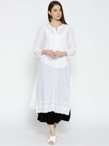 Cottonworld Women's Kurtis WOMEN'S 100% CAMBRIC WHITE REGULAR FIT KURTI