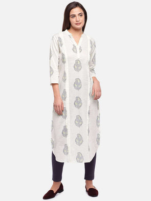 Cottonworld Women's Kurtis WOMEN'S 100% COTTON BEIGE REGULAR FIT KURTI