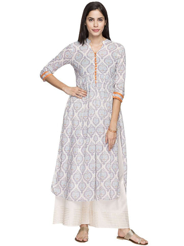 Cottonworld Women's Kurtis WOMEN'S 100% COTTON BLUE REGULAR FIT KURTI