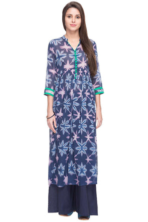 Cottonworld Women s Kurtis WOMEN S 100% COTTON NAVY REGULAR FIT KURTI 12fa8f9af