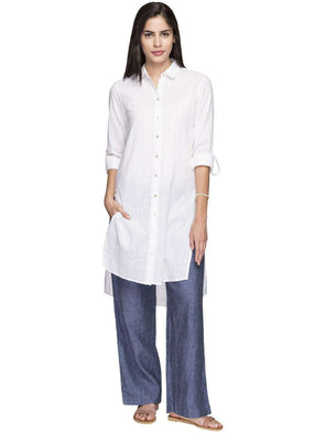 Cottonworld Women's Kurtis WOMEN'S 100% COTTON WHITE REGULAR FIT KURTI