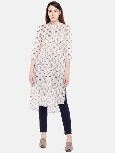 Women's Cotton Beige Regular Fit Kurti Cottonworld Women's Kurtis