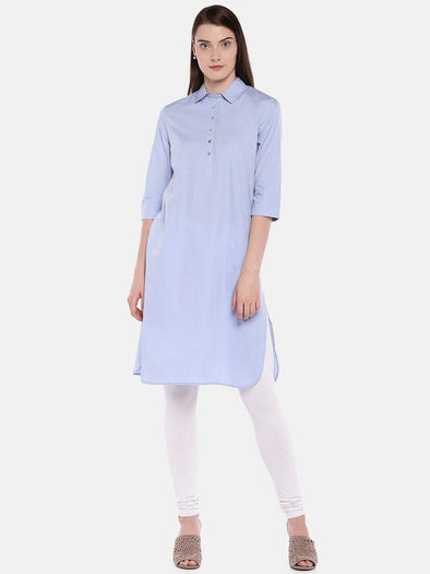 Cottonworld Women's Kurtis Women's Cotton Blue Regular Fit Kurta