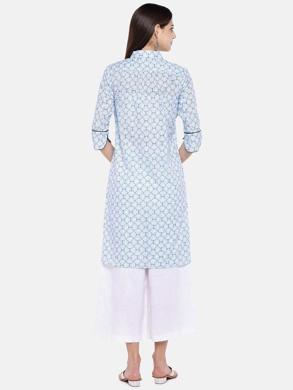 Women's Cotton Blue Regular Fit Kurta Cottonworld Women's Kurtis