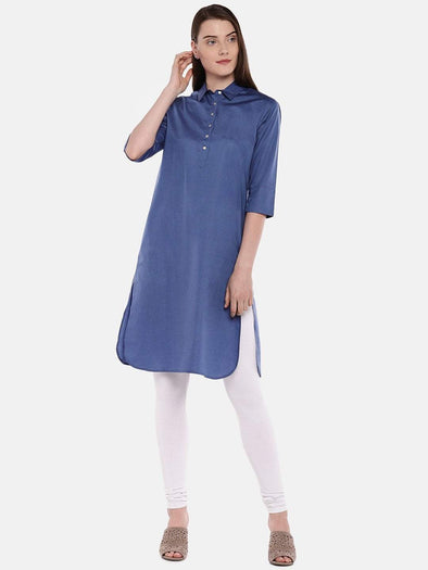 Women's Cotton Cobalt Regular Fit Kurta Cottonworld Women's Kurtis