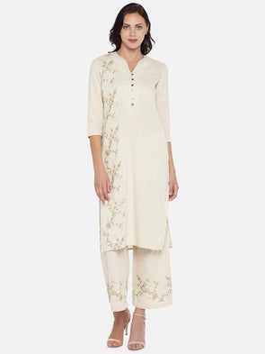 Women's Cotton Flax Woven Natural Regular Fit Kurta Cottonworld Women's Kurtis