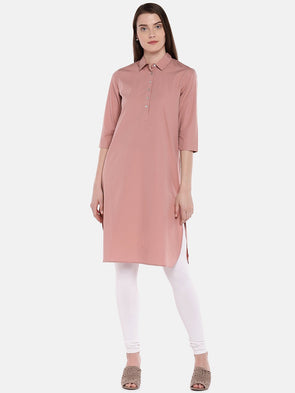Cottonworld Women's Kurtis Women's Cotton Pink Regular Fit Kurta