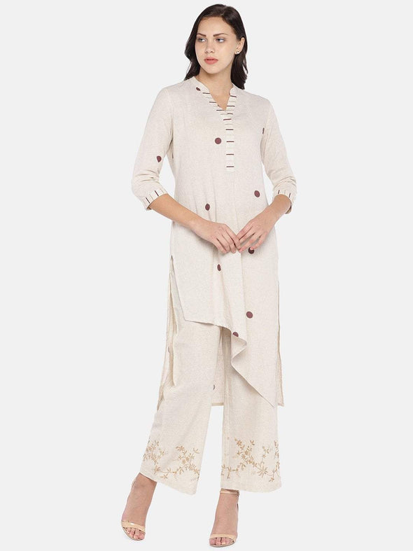 Women's Eth Cotton Flax Woven Natural Regular Fit Kurta Cottonworld Women's Kurtis