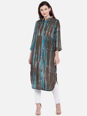 Cottonworld Women's Kurtis Women's Ethnic Modal Brown Regular Fit Kurta