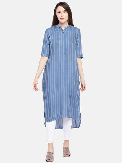 Cottonworld Women's Kurtis Women's Viscose Blue Regular Fit Kurta