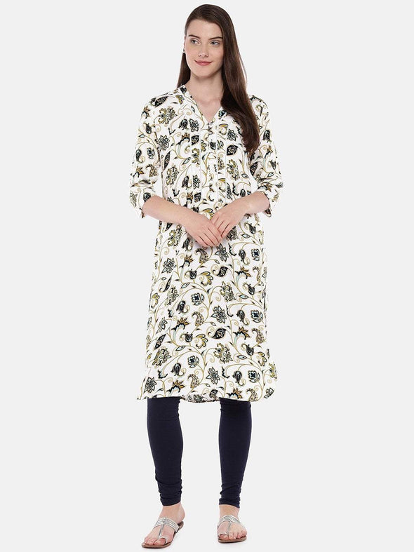 Women's Viscose Mustard Regular Fit Kurta Cottonworld Women's Kurtis