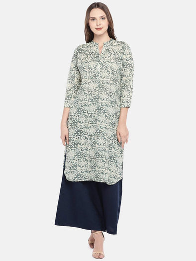 Women's Cotton Linen Woven Natural Regular Fit Kurti Cottonworld Women's Kurtis