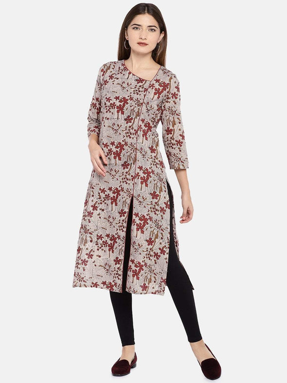 Cottonworld Women's Kurtis XSMALL /  BROWN Women's Cambric Woven Brick Regular Fit Kurti