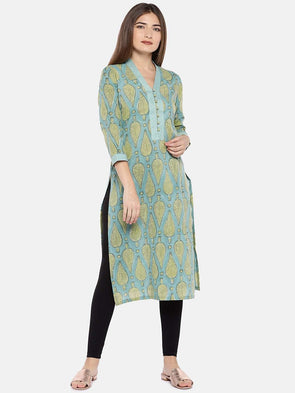 Cottonworld Women's Kurtis XSMALL / GREEN Women's Cambric Woven Sea Green Regular Fit Kurta