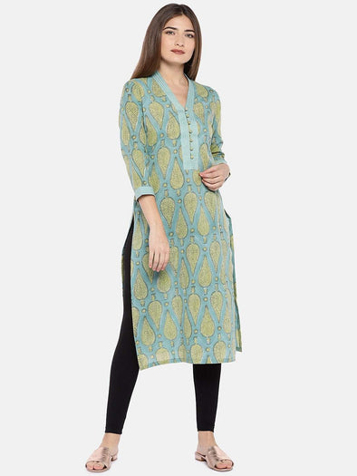 Women's Cambric Woven Sea Green Regular Fit Kurti Cottonworld Women's Kurtis