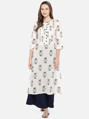 Cottonworld Women's Kurtis XSMALL / NAVY Women's Cotton Woven Navy Regular Fit Kurti