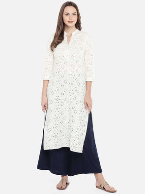 Women's Cambric Offwhite Regular Fit Kurti Cottonworld Women's Kurtis