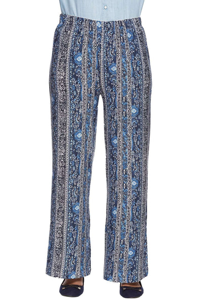 Cottonworld Women's Pallazo LADIES 95% VISCOSE 5% ELASTANE PRINTED BLUE KPANTS