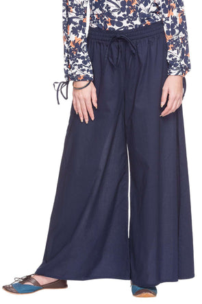 Cottonworld Women's Pallazo WOMEN'S 100% CAMBRIC NAVY REGULAR FIT PALLAZO