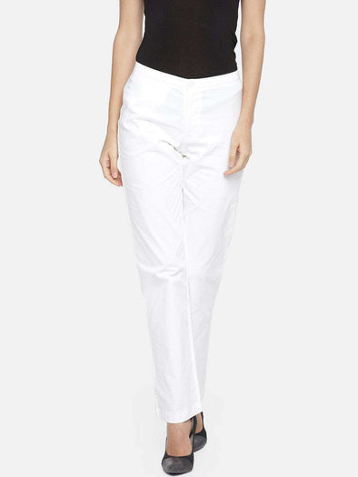 Cottonworld Women's Pants 70 cm-small / WHITE WOMEN'S 98% COTTON 2% LYCRA WHITE REGULAR FIT PANTS