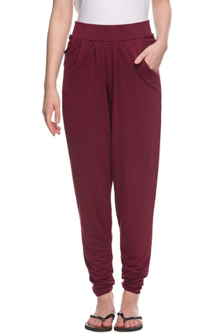 Cottonworld Women's Pants 96% Viscose 4% Elastane Knit Plum Regular Fit Kpants