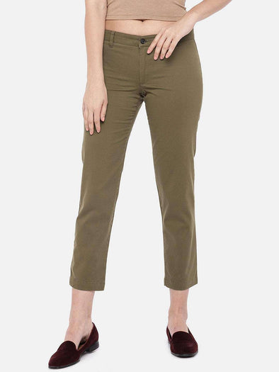 Cottonworld Women's Pants SMALL / BROWN Women's 98% Cotton 2% Lycra Woven Brown Regular Fit Pants