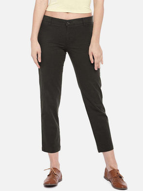 Cottonworld Women's Pants SMALL / GREY Women's 98% Cotton 2% Lycra Woven Grey Regular Fit Pants