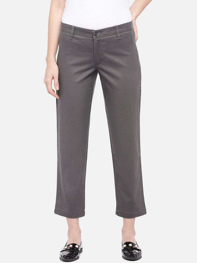 Cottonworld Women's Pants SMALL / GREY Women's Cotton Lycra Grey Regular Fit Pants