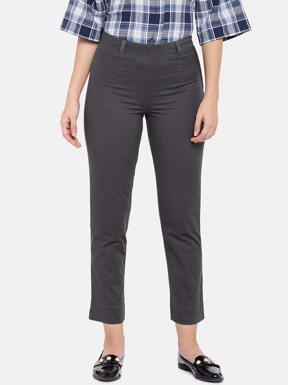 Women's Cotton Lycra Woven Grey Regular Fit Pants Cottonworld Women's Pants