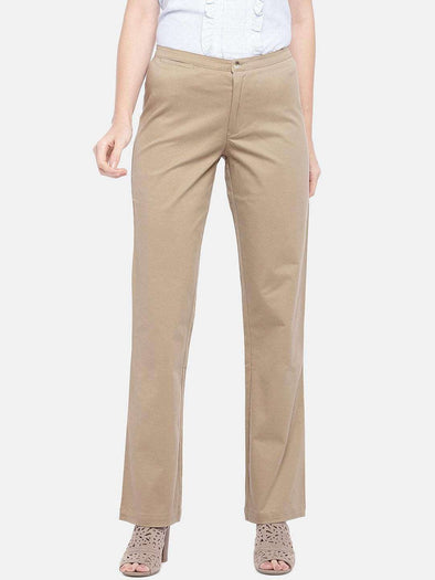 Cottonworld Women's Pants SMALL / KHAKI Women's Cotton 2% Lycra Woven Khaki Regular Fit Pants