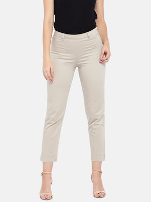 Women's Cotton Lycra Woven Khaki Regular Fit Pants Cottonworld Women's Pants