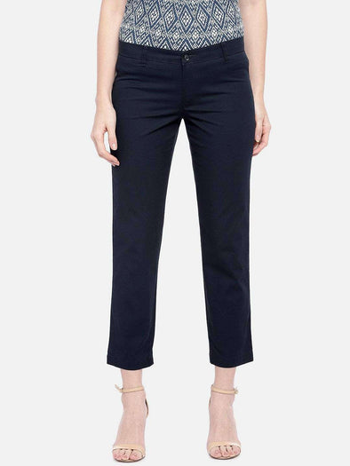 Cottonworld Women's Pants SMALL / NAVY Women's 98% Cotton 2% Lycra Woven Navy Regular Fit Pants