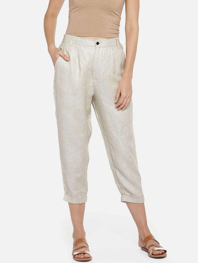 Cottonworld Women's Pants WOMEN'S 100% LINEN BEIGE REGULAR FIT PANTS