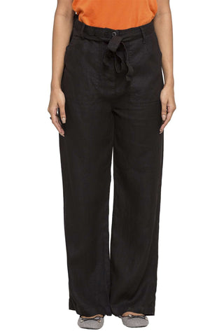 Cottonworld Women's Pants WOMEN'S 100% LINEN BLACK REGULAR FIT PANTS