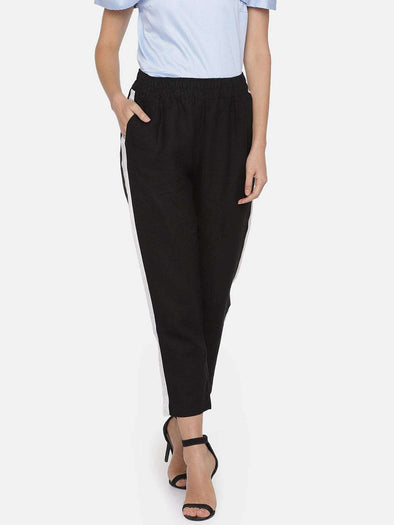 Women's Linen Black Regular Fit Pants Cottonworld Women's Pants