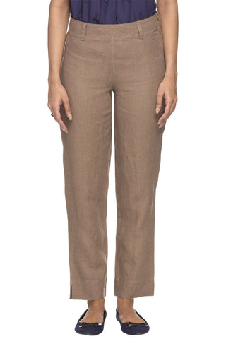 Cottonworld Women's Pants WOMEN'S 100% LINEN BROWN REGULAR FIT PANTS