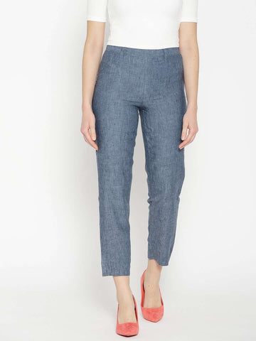 Cottonworld Women's Pants WOMEN'S 100% LINEN DENIM REGULAR FIT PANTS