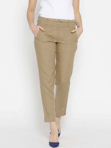 Cottonworld Women's Pants WOMEN'S 100% LINEN KHAKI REGULAR FIT PANTS