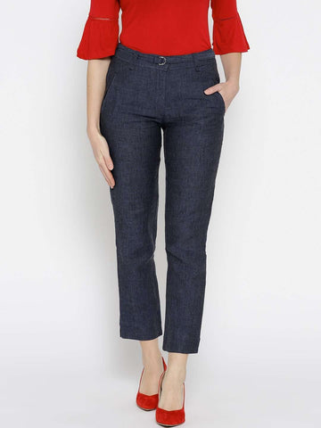 Cottonworld Women's Pants WOMEN'S 100% LINEN NAVY REGULAR FIT PANTS