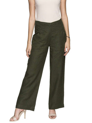 Cottonworld Women's Pants WOMEN'S 100% LINEN OLIVE REGULAR FIT PANTS