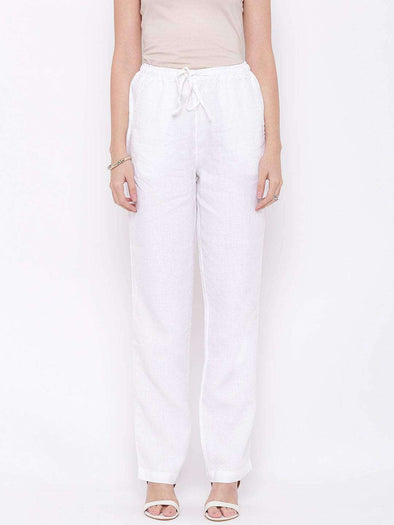 Cottonworld Women's Pants WOMEN'S 100% LINEN WHITE REGULAR FIT PANTS