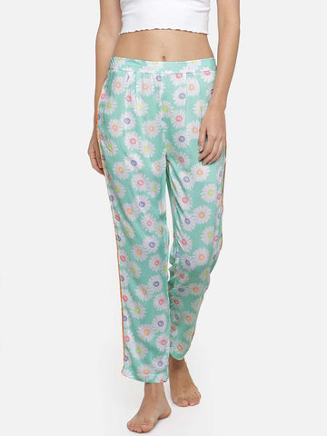 Cottonworld Women's Pants WOMEN'S 100% RAYON AQUA REGULAR FIT PAJAMA