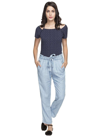 Cottonworld Women's Pants WOMEN'S 100% TENCEL BLUE REGULAR FIT PANTS