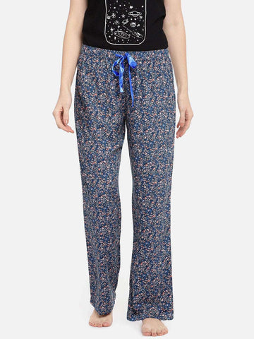 Cottonworld Women's Pants WOMEN'S 100% VISCOSE NAVY REGULAR FIT PAJAMA