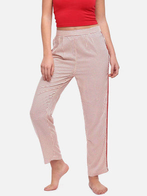 Cottonworld Women's Pants WOMEN'S 100% VISCOSE RED REGULAR FIT PAJAMA