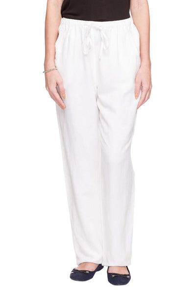 Cottonworld Women's Pants WOMEN'S 60% LINEN 40% VISCOSE WHITE REGULAR FIT PANTS