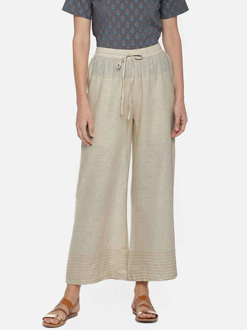 Cottonworld Women's Pants WOMEN'S 80% COTTON 20% FLAX NATURAL REGULAR FIT PANTS