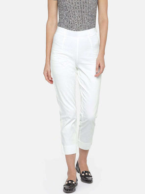 Cottonworld Women's Pants WOMEN'S 97% COTTON 3% LYCRA WHITE REGULAR FIT PANTS