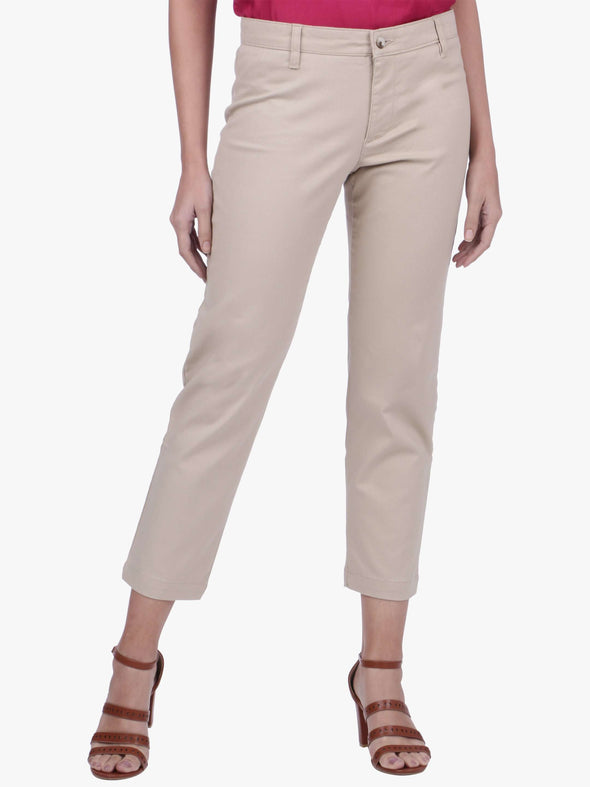 Women's Cotton Lycra Beige Regular Fit Pants Cottonworld Women's Pants