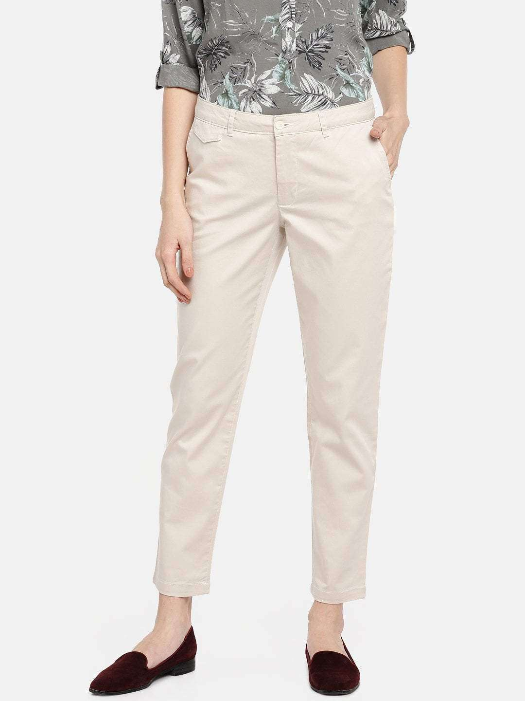 Beige Woven Pants Women S Semi Formal Wear Straight Fit Woven Pants Cottonworld You'll get full coverage when you're in the midst of a complicated sequence of poses as well as a comfortable fit when you're rocking them out and about. inr